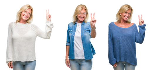 Collage of beautiful middle age blonde woman over white isolated backgroud smiling with happy face winking at the camera doing victory sign. Number two.