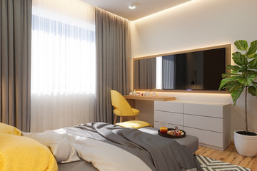 3d illustration, bedroom interior design concept. Visualization of the interior in the Scandinavian architectural style