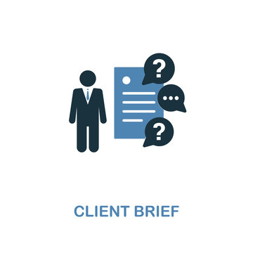 Client Brief icon in two colors. Creative design from online marketing icon collection. UI and UX. Pixel perfect client brief icon. For web design, apps, software, print usage.