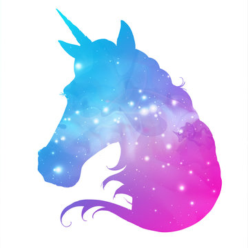 Artistic silhouette of fantasy animal unicorn on open space background. Hipster animal illustration.