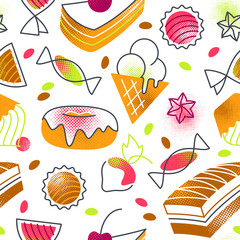 Flat cartoon sweets and cakes confectionery seamless pattern.