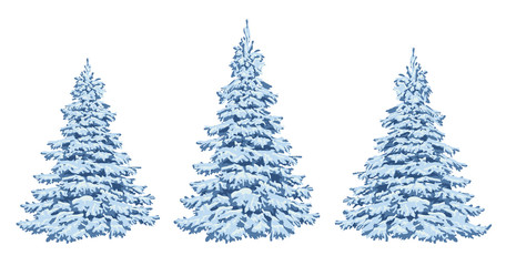 Winter trees in the snow. A set for Christmas design and decoration. Nature in winter. Winter forest. Frost. Vector .Eps 10.