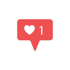 New Counter Notification Icon. Follower. New Icon like 1 symbol, button. Social media like insta ui, app, iphone. Vector illustration.