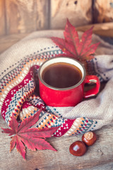Red vintage cup of coffee with a knitted sweater, fall maple leaves and chestnuts on a wooden background