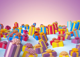 3d render, Christmas greeting card, holiday colorful wrapped gifts, pink background, digital illustration