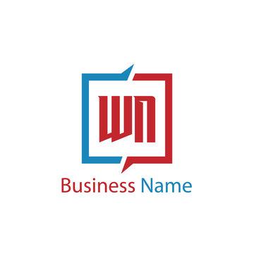 Initial Letter WN Logo Template Design