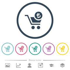 Checkout with Lira cart flat color icons in round outlines