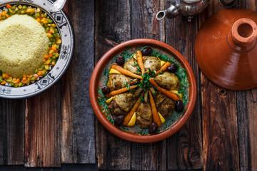 Morrocan family meal tajine, couscous, salad and tea.