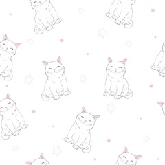 Cute Cats Pet Seamless Icons, Pattern And Background