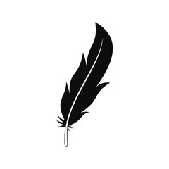 Feather icon. Simple illustration of feather vector icon for web design isolated on white background