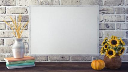 Mock up frame autumn background 3d render 3d illustration