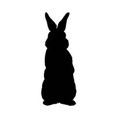 silhouette rabbit - vector illustration