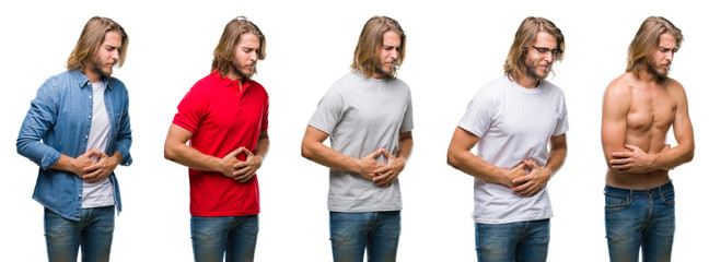 Collage of handsome young man wearing casual look over white isolated backgroud with hand on stomach because nausea, painful disease feeling unwell. Ache concept.