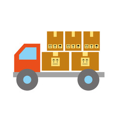 online shopping logistic truck cardboard boxes cargo