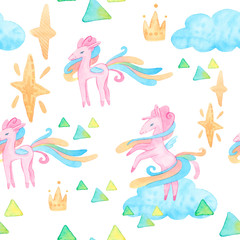 Fairy tale watercolor illustration. Cartoon seamless pattern with unicorn collection. Magic cute baby backgrounds. Pegasus, sky, clouds, Stars, plants, flowers