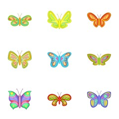 Butterfly icons set. Cartoon illustration of 9 butterfly vector icons for web