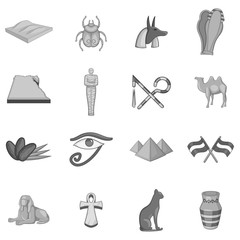 Egypt travel icons set in monochrome style isolated on white background