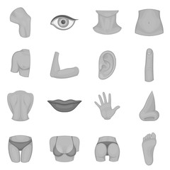 Body parts icons set in monochrome style isolated on white background