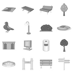 Park icons set in monochrome style isolated on white background