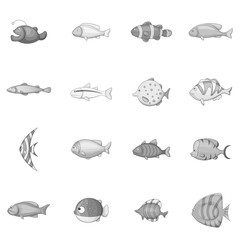Different fish icons set in monochrome style isolated on white background