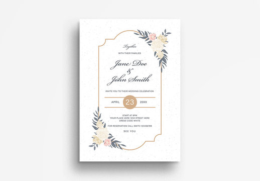Wedding Invitation Flyer Layout with Floral Elements