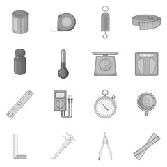 Measure tools icons set in monochrome style isolated on white background