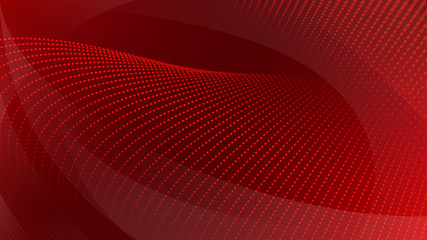 Abstract background of curved surfaces and halftone dots in red colors Fotoväggar