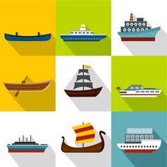 Ocean transport icons set. Flat illustration of 9 ocean transport vector icons for web