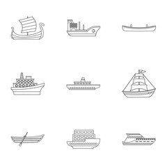 Ship icons set. Outline illustration of 9 ship vector icons for web