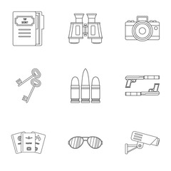 Spy icons set. Outline illustration of 9 spy vector icons for web