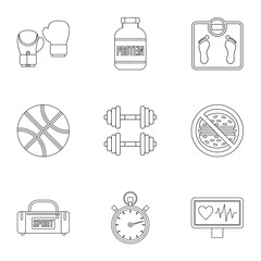 Active sport icons set. Outline illustration of 9 active sport vector icons for web