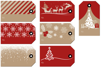 Set of Christmas and New Year Gift Tags - Colored Illustrations, Vector