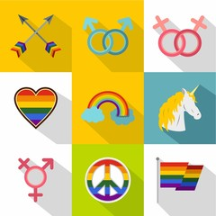 Culture LGBT icons set. Flat illustration of 9 culture LGBT vector icons for web
