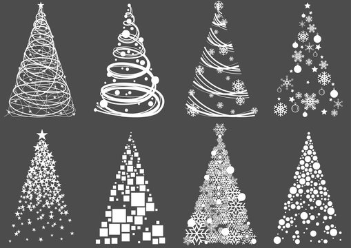 Set of Abstract Christmas Tree - Modern Design Element Illustrations for Your Xmas Project, Vector