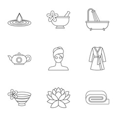 Relaxation icons set. Outline illustration of 9 relaxation vector icons for web