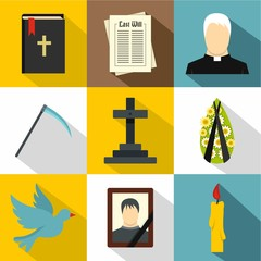 Death icons set. Flat illustration of 9 death vector icons for web