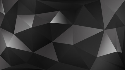 Abstract polygonal background of many triangles in black and gray colors