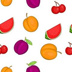 Orchard fruits pattern. Cartoon illustration of orchard fruits vector pattern for web