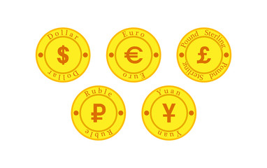 Set of five coins with currency symbols