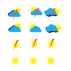 A set of weather meteorological symbols for sites and weather forecasts