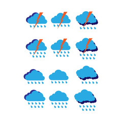 Set of colored weather meteorological symbols for sites and weather forecasts