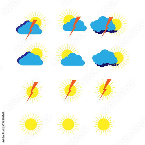 A Set Of Weather Meteorological Symbols For Sites And Weather