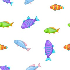 Species of fish pattern. Cartoon illustration of species of fish vector pattern for web