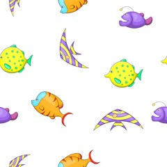 Marine fish pattern. Cartoon illustration of marine fish vector pattern for web