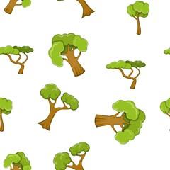 Trees pattern. Cartoon illustration of trees vector pattern for web