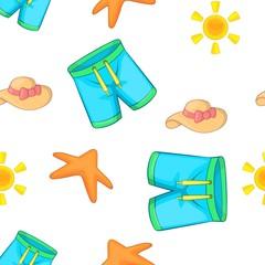 Beach vacation pattern. Cartoon illustration of beach vacation vector pattern for web