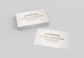 Stack of Business Cards on White Mockup