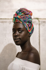 Portrait of woman in headscarf