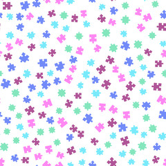 Colorful puzzle seamless background pattern. Vector illustration isolated on white background