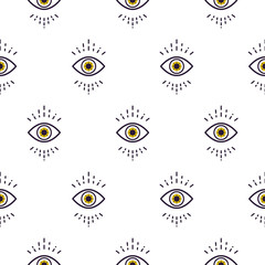 Trendy white hipster abstract eye pattern vector background.